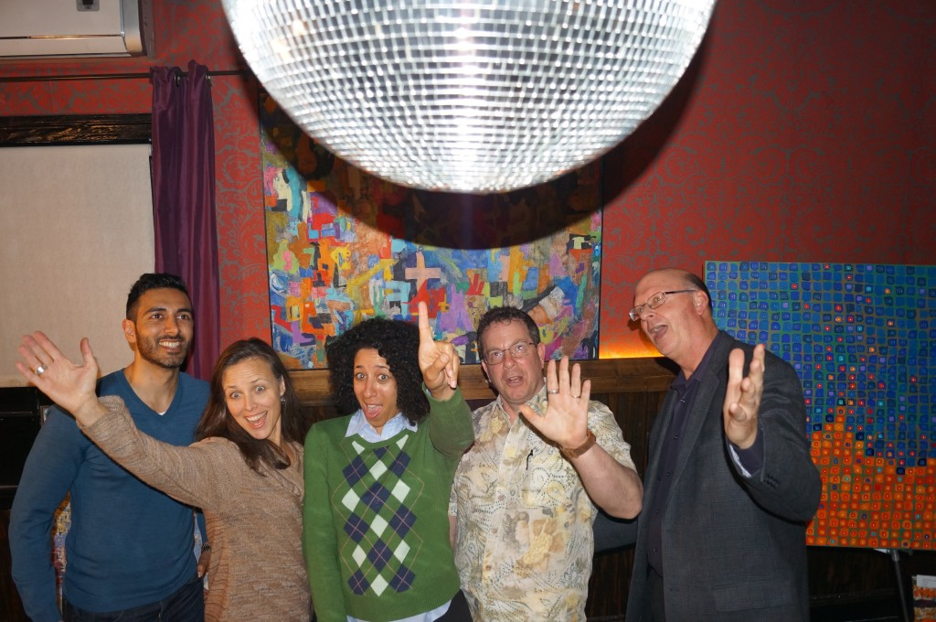 Did we mention there was a disco ball?? From left to right this is Vik, Mary, Angela, Ray, and Dan - see the whole team here!